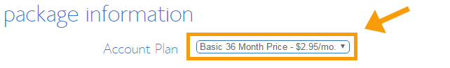 How to Buy a Domain Name - Step 6 - the account plan duration - the longer, the more discount