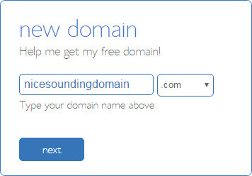 How to Buy a Domain Name - Step 4 - choosing your free domain name
