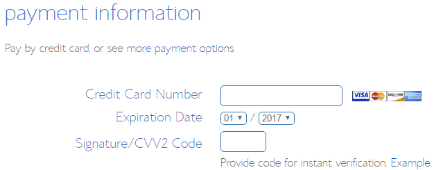 How to Buy a Domain Name - Step 7 - fill out your payment information